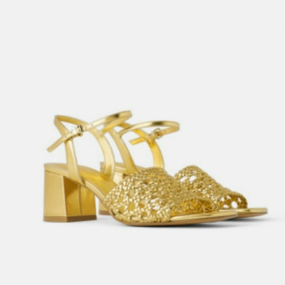 Zara gold braided chunky heel sandals 39